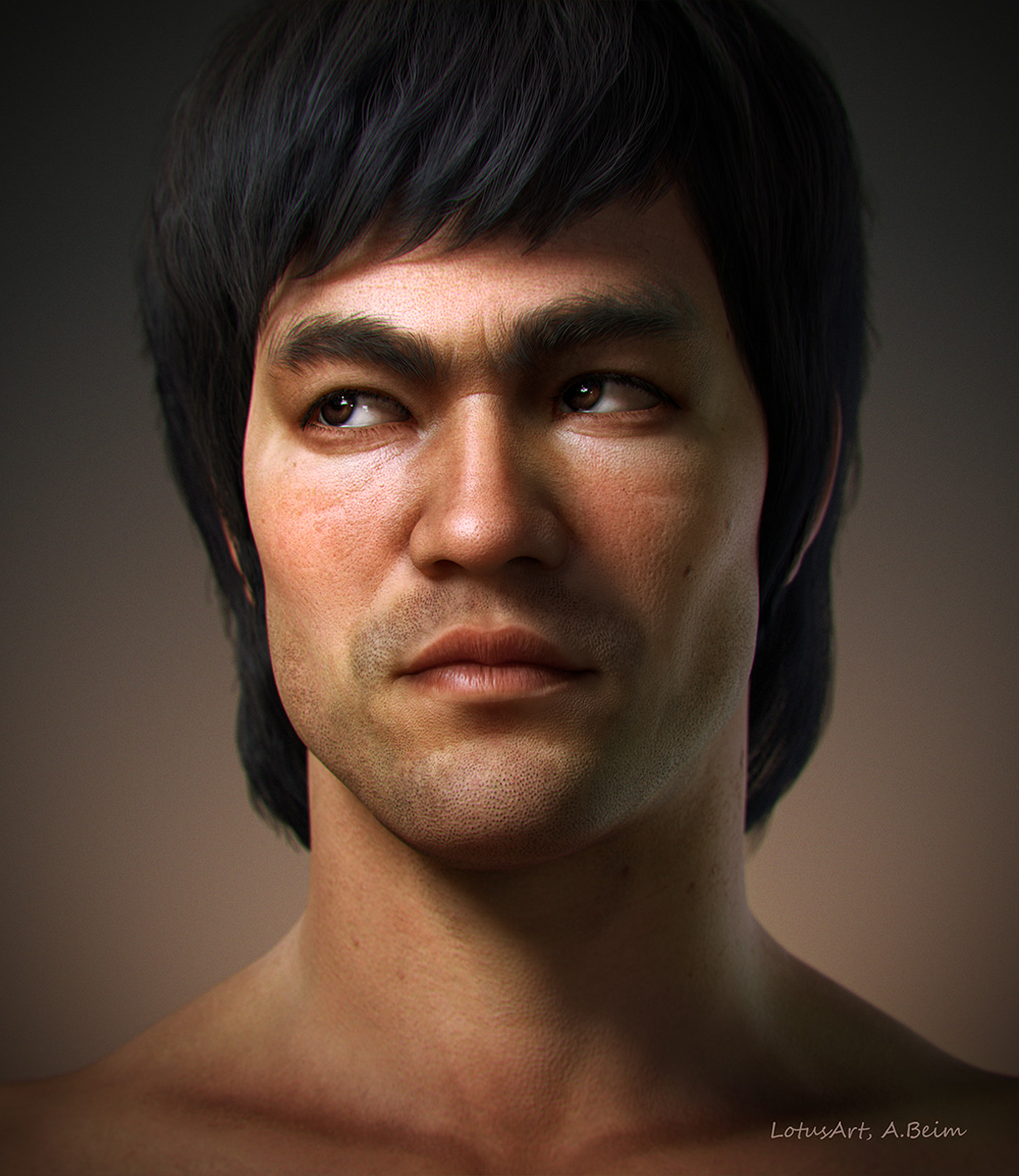 3D Bruce Lee Portrait. A realistic Bruce Lee Portrait