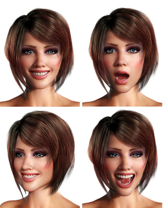 "3d-girl-facial-expressions Virtueller 3D Character - ""3D Girl"""