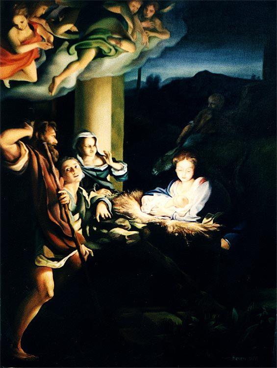 "jesus ""Die Geburt Jesu"" Ölgemälde Replik"
