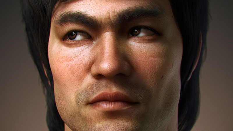 bruce lee 3d portrait