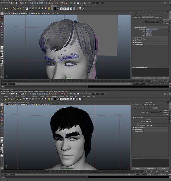 maya-screenshot-bruce-lee-3d-character-hair