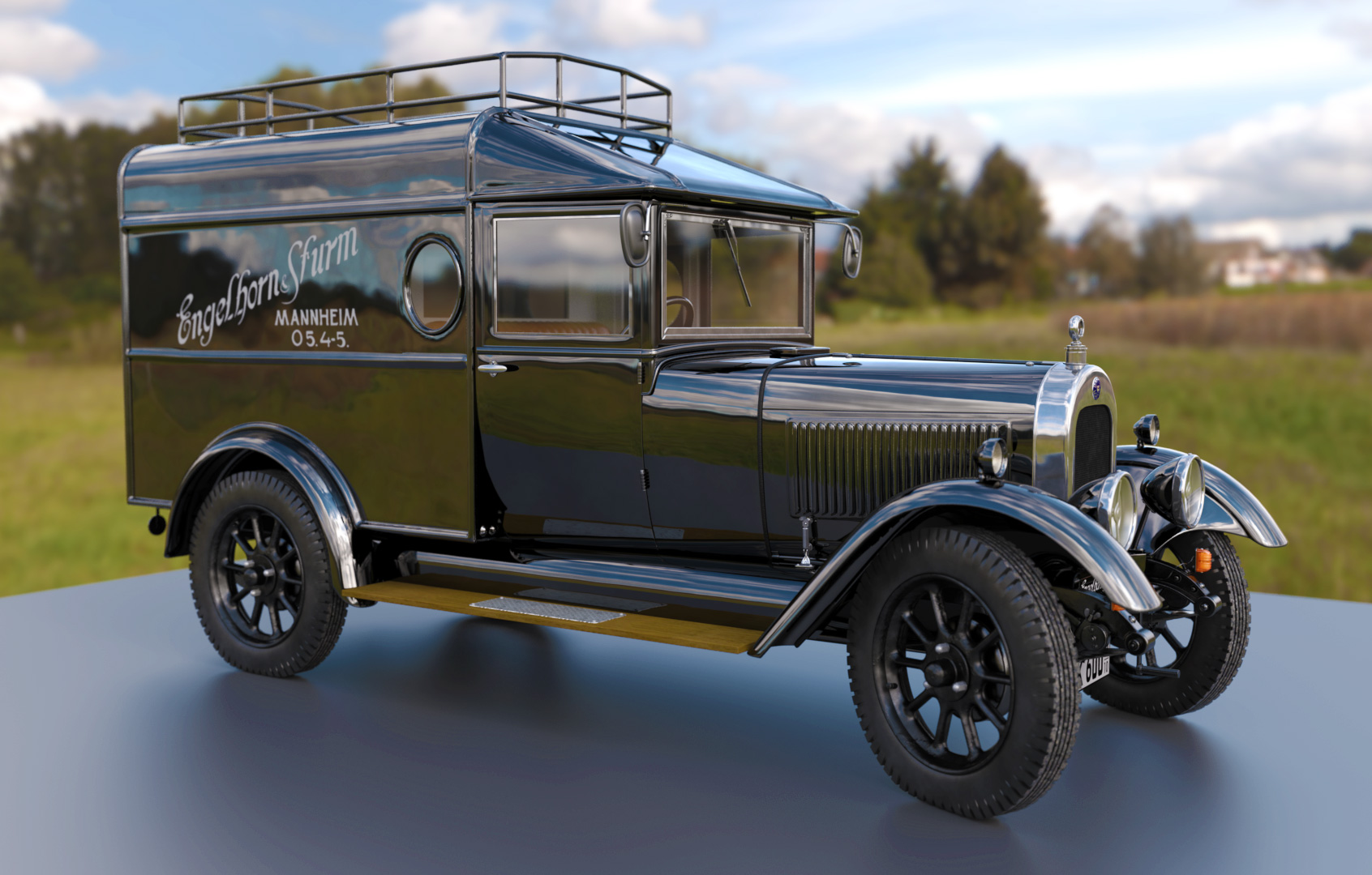 3D Auto Modell oldtimer. Rigging, Rendering, Animation