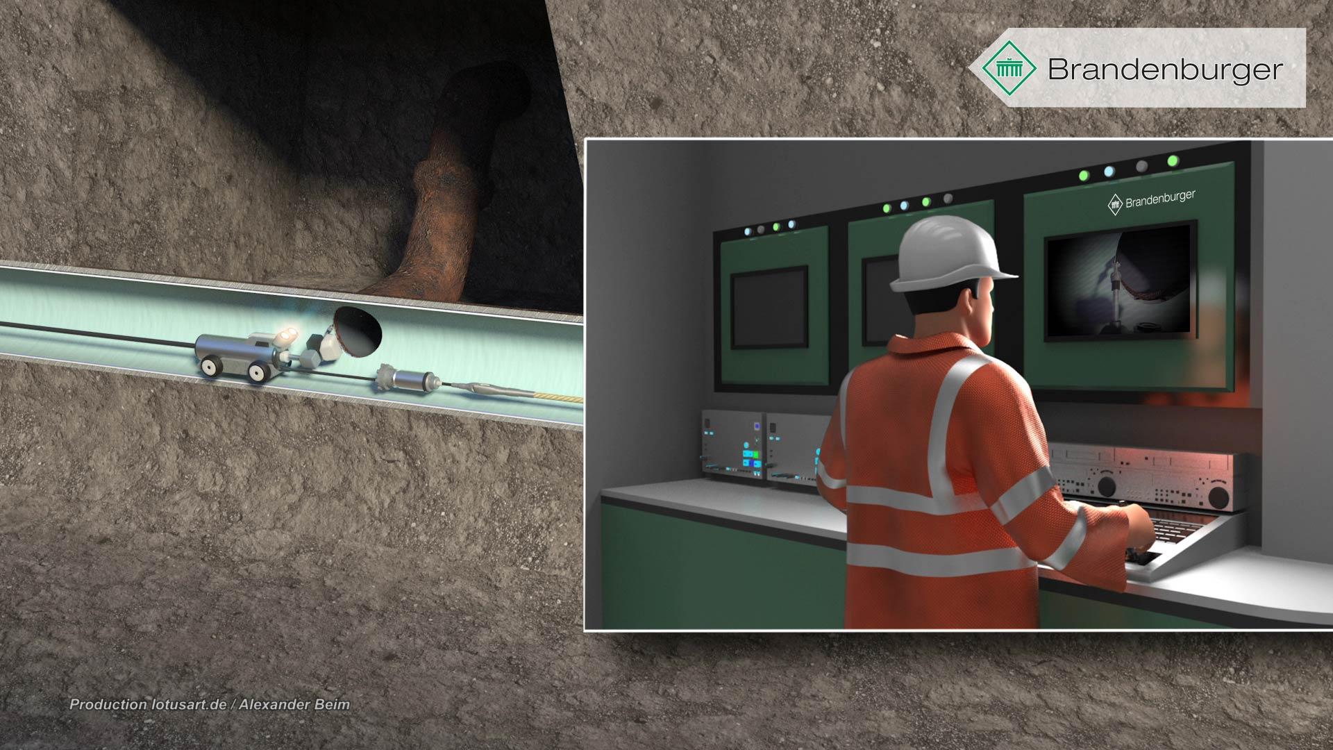 """Fraesroboter-rohrroboter-robot-sanierung-rohrleitung-schleifroboter-kamera-3D Brandenburger """"UV Liner"""""""
