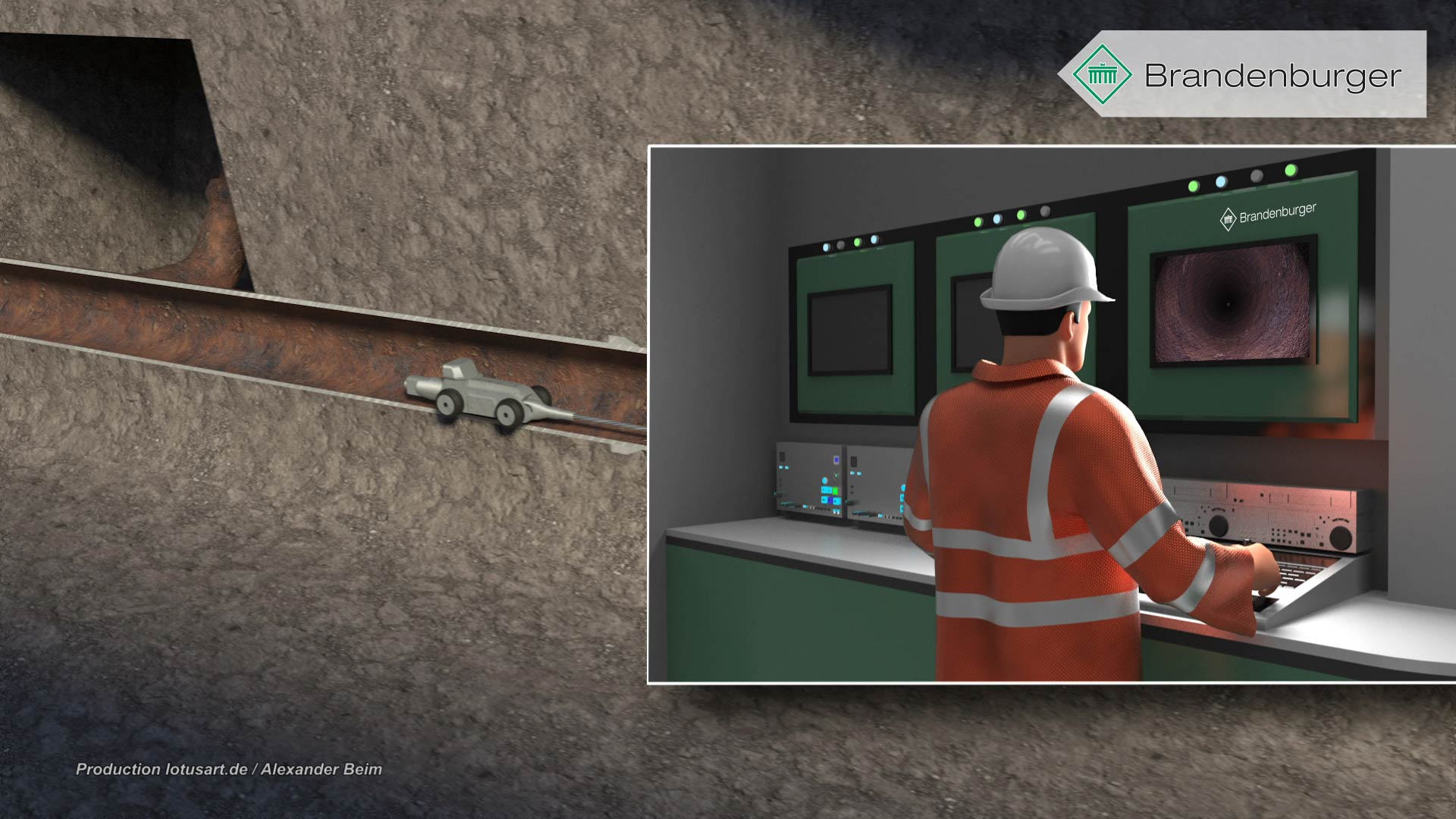 Rohrreinigung 3D Animation