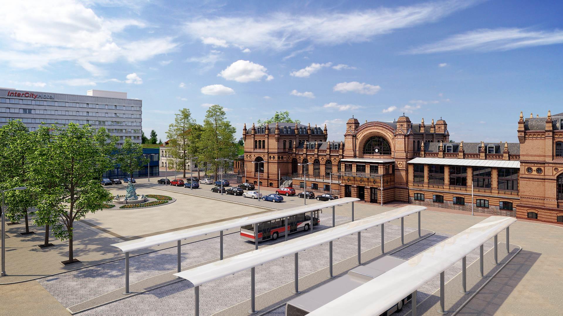 3D_Visualisierung_Schwerin_Bahnhof_Grunthalplatz Schwerin Grunthalplatz 3D Architekturvisualisierung