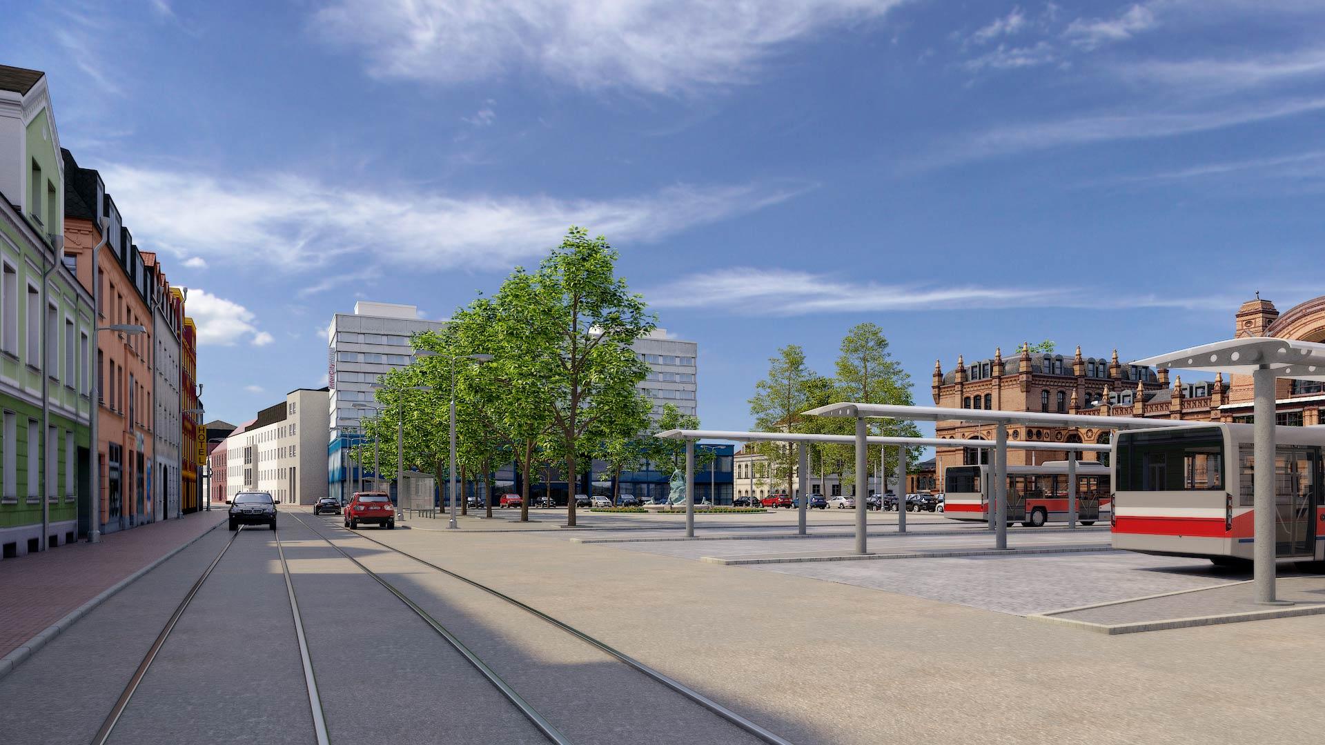 Busbahnhof_Grunthalplatz_Schwerin_3D_Architekturvisualisierung Schwerin Grunthalplatz 3D Architekturvisualisierung