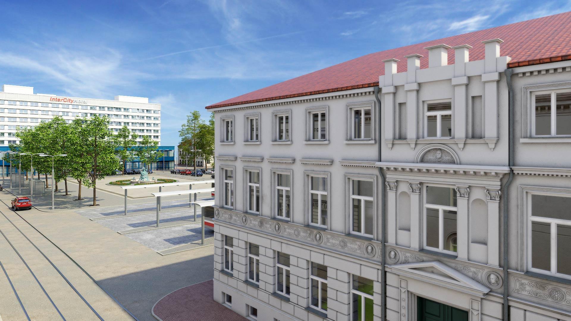 Haus_Grunthalplatz_Wismarsche_Strasse_Schwerin_3D_Architekturvisualisierung Schwerin Grunthalplatz 3D Architekturvisualisierung