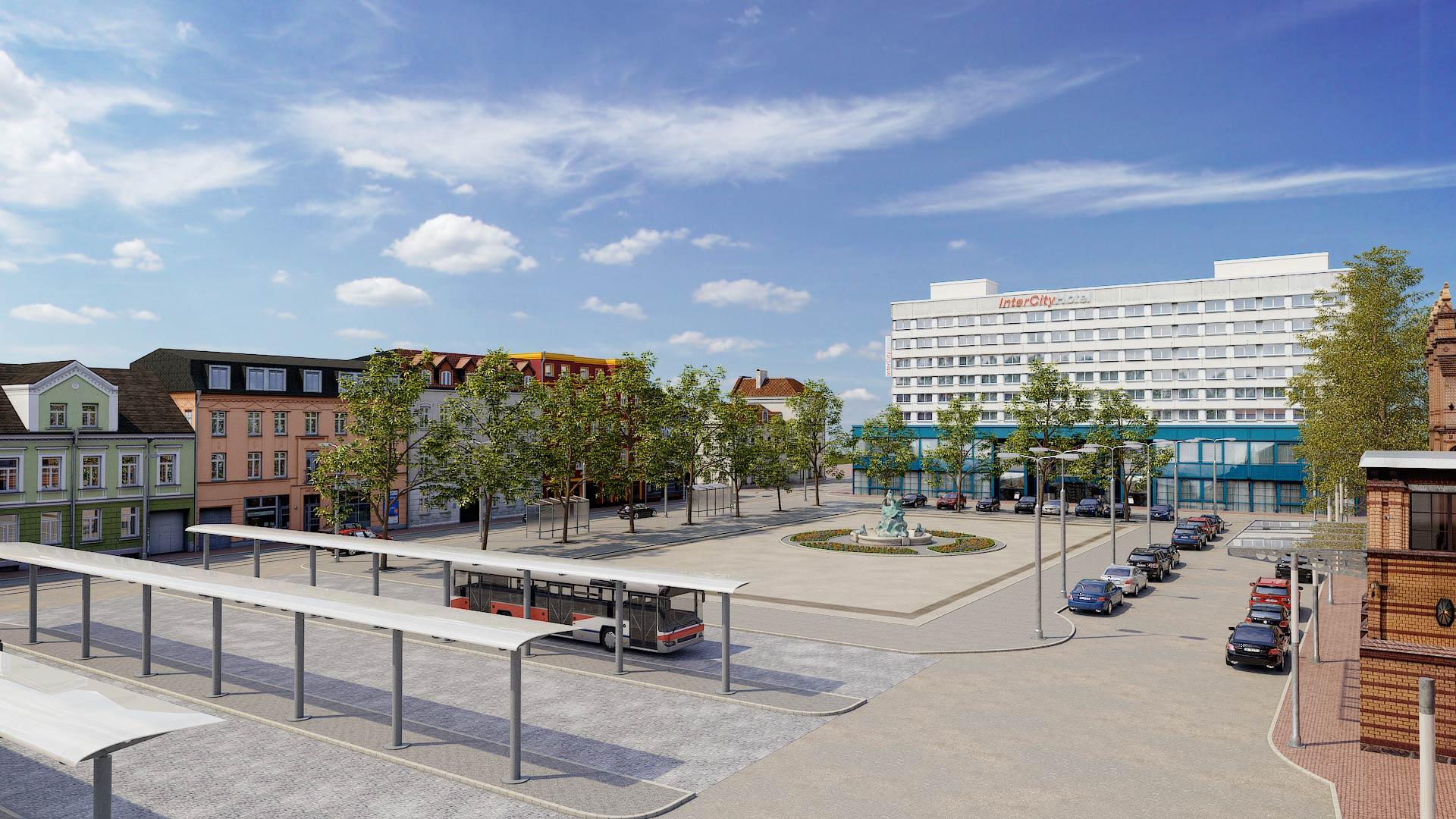 IntercityHotel-Schwerin_Grunthalplatz_3D_Architekturvisualisierung Schwerin Grunthalplatz 3D Architekturvisualisierung
