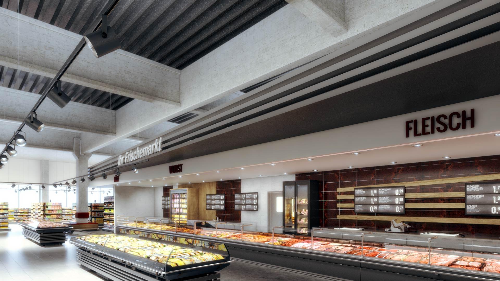 Interior_Design_3D_Architekturvisualisierung_EDEKA_Iserlohn_Wurst_Lebensmittelhandel EDEKA Iserlohn Innenarchitektur
