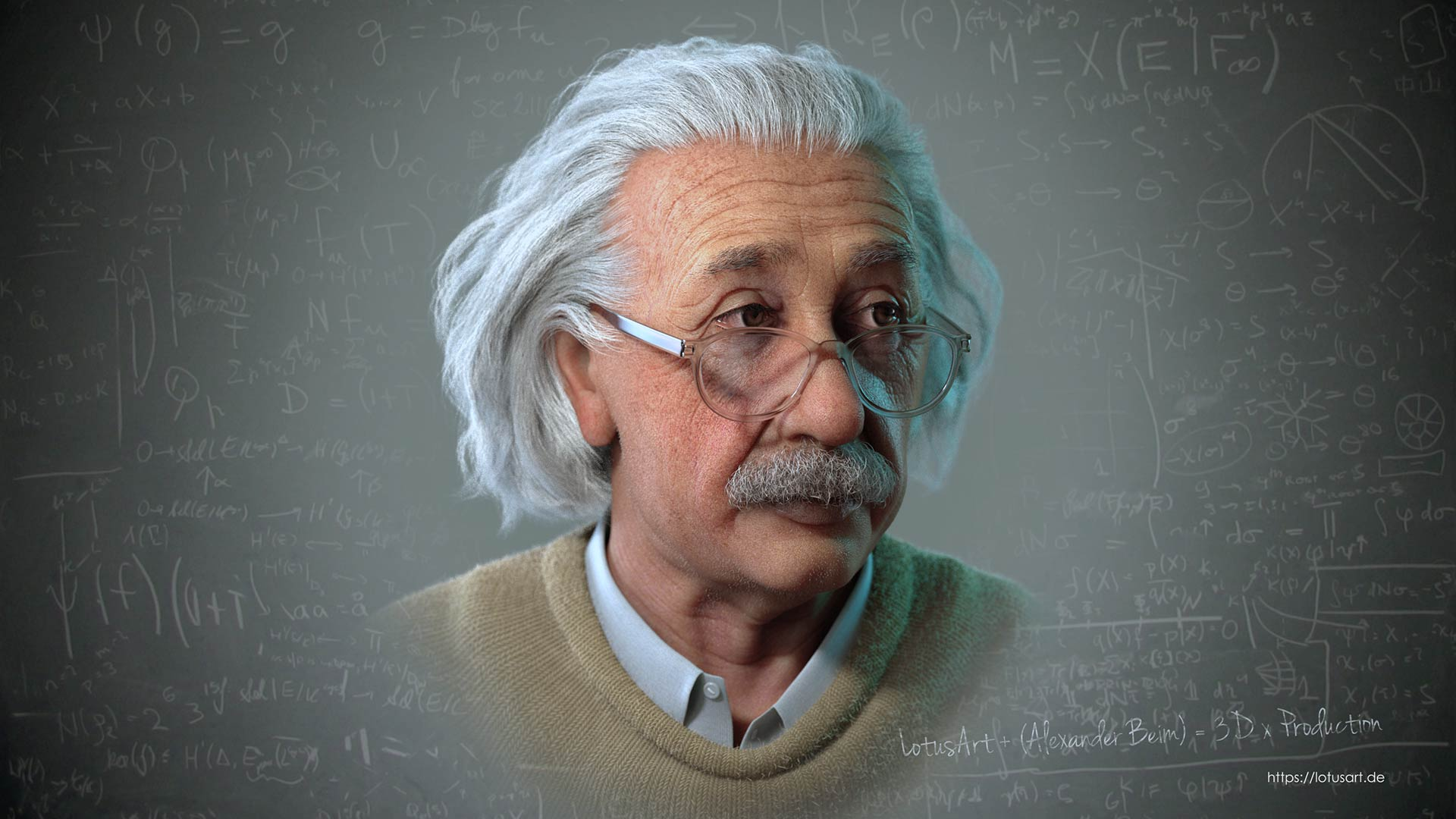 albert_einstein_3d_galasses_video_movie_futage Albert Einstein 3D Porträt für ein Hologram