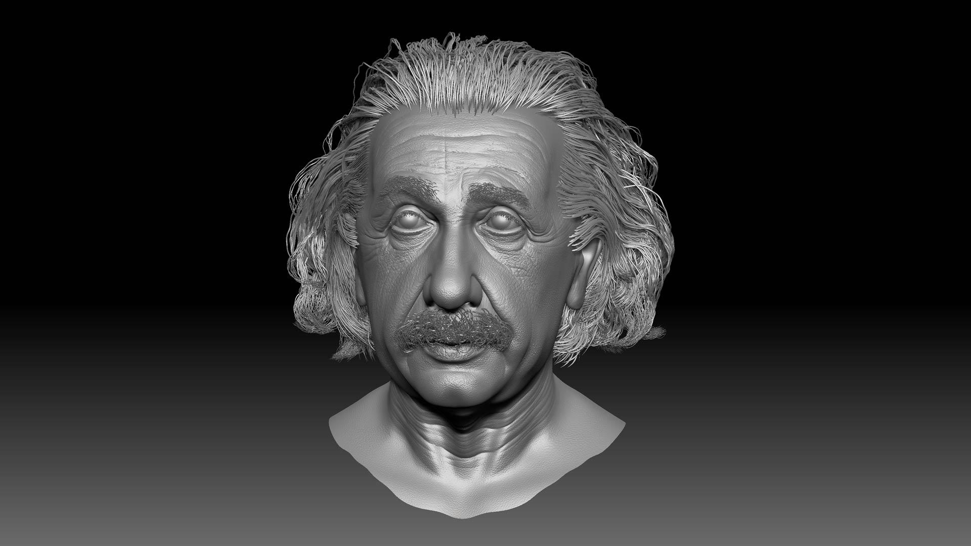 albert_einstein_zbrush_sculpting_model_head_character_portrait Albert Einstein 3D Porträt für ein Hologram