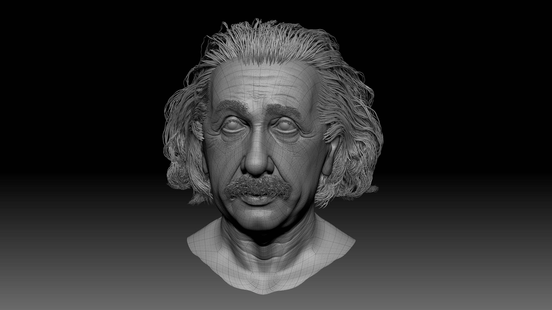 albert_einstein_zbrush_sculpting_model_head_character_wireframe Albert Einstein 3D Porträt für ein Hologram