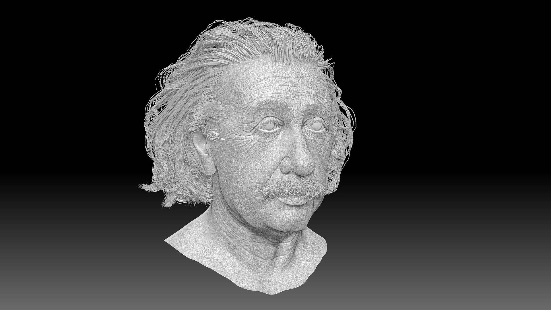 albert_einstein_zbrush_sculpting_model_head_character_wrincles Albert Einstein 3D Porträt für ein Hologram