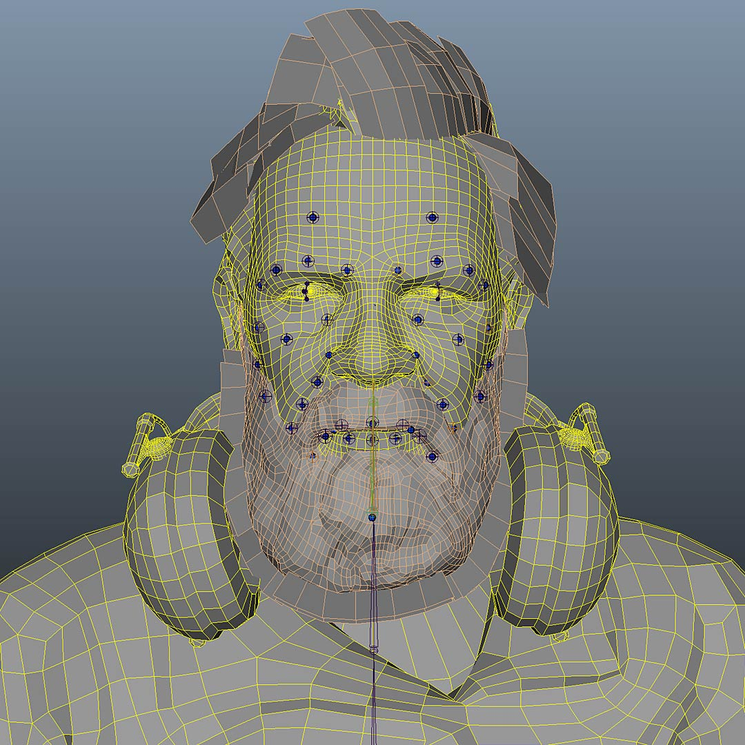 anno_3d_character_wireframe_face_rigging 3D Character