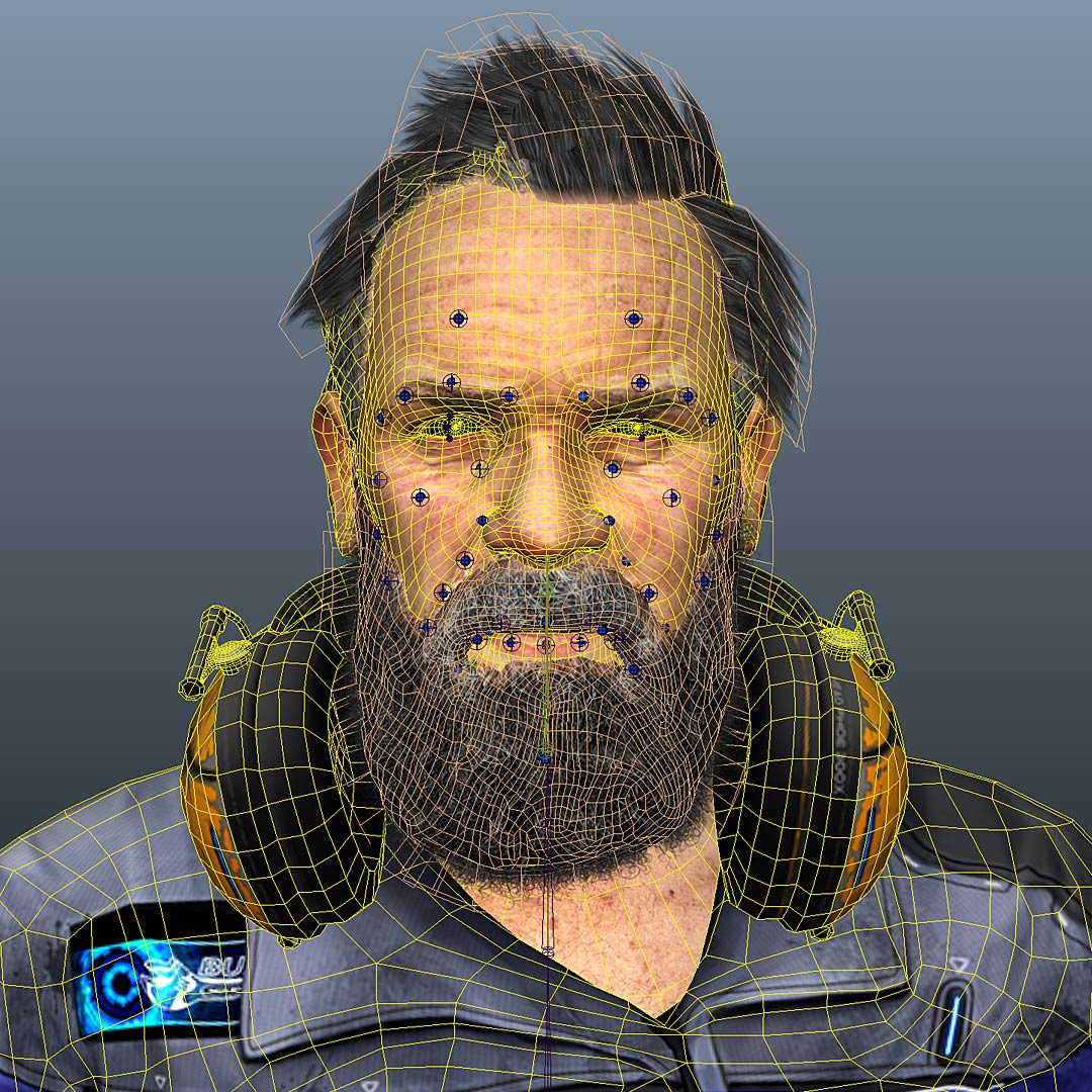 anno_3d_character_wireframe_textured_face_rigging 3D Character