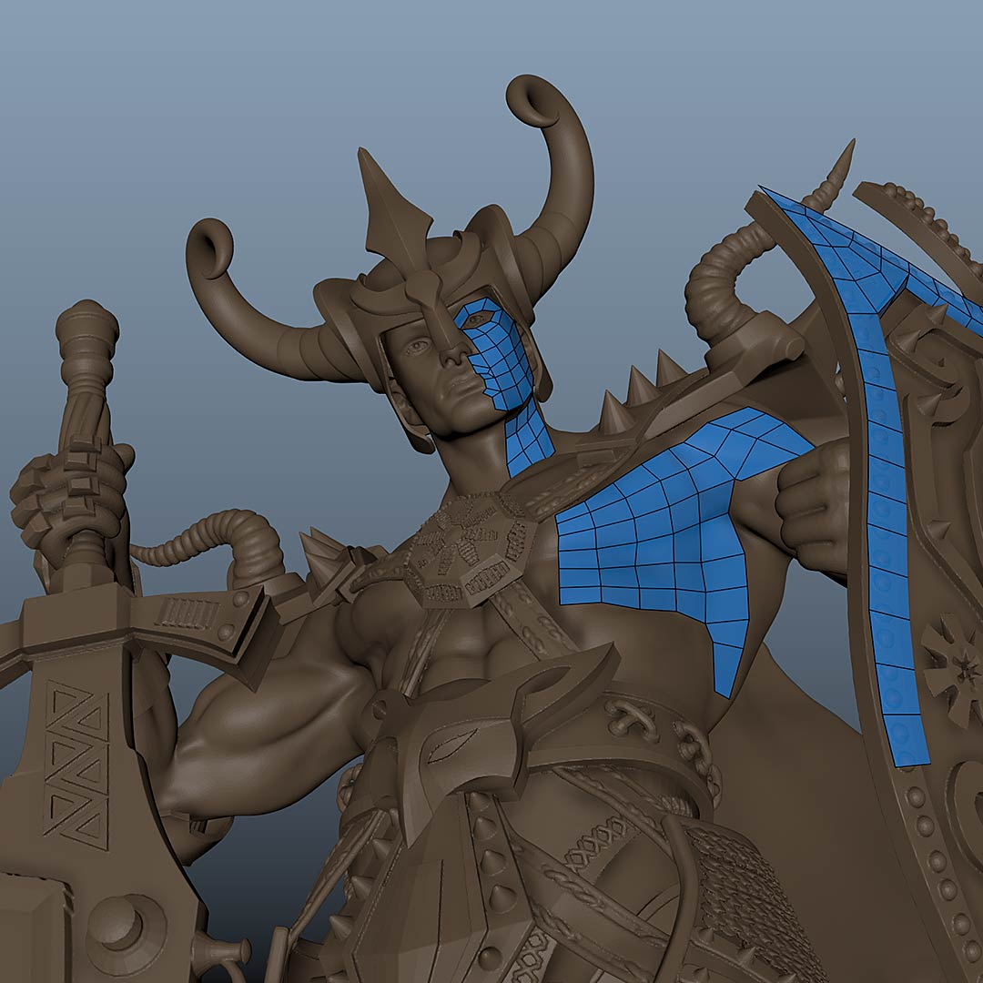 warrior_3D_character_low_poly_retopology_maya 3D Character