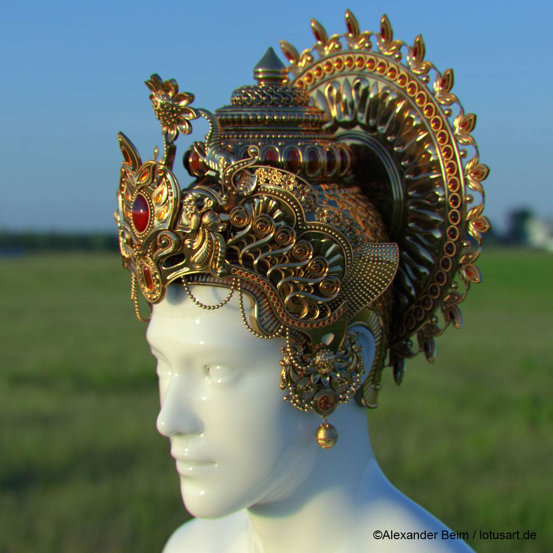"3d_csulpting_vishnu_Crown Digital sculpting ""Krishna Crown """