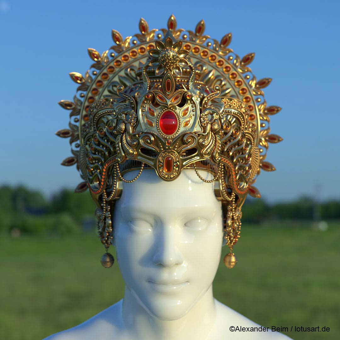 "concept_art_Krishna_Crown Digital sculpting ""Krishna Crown """