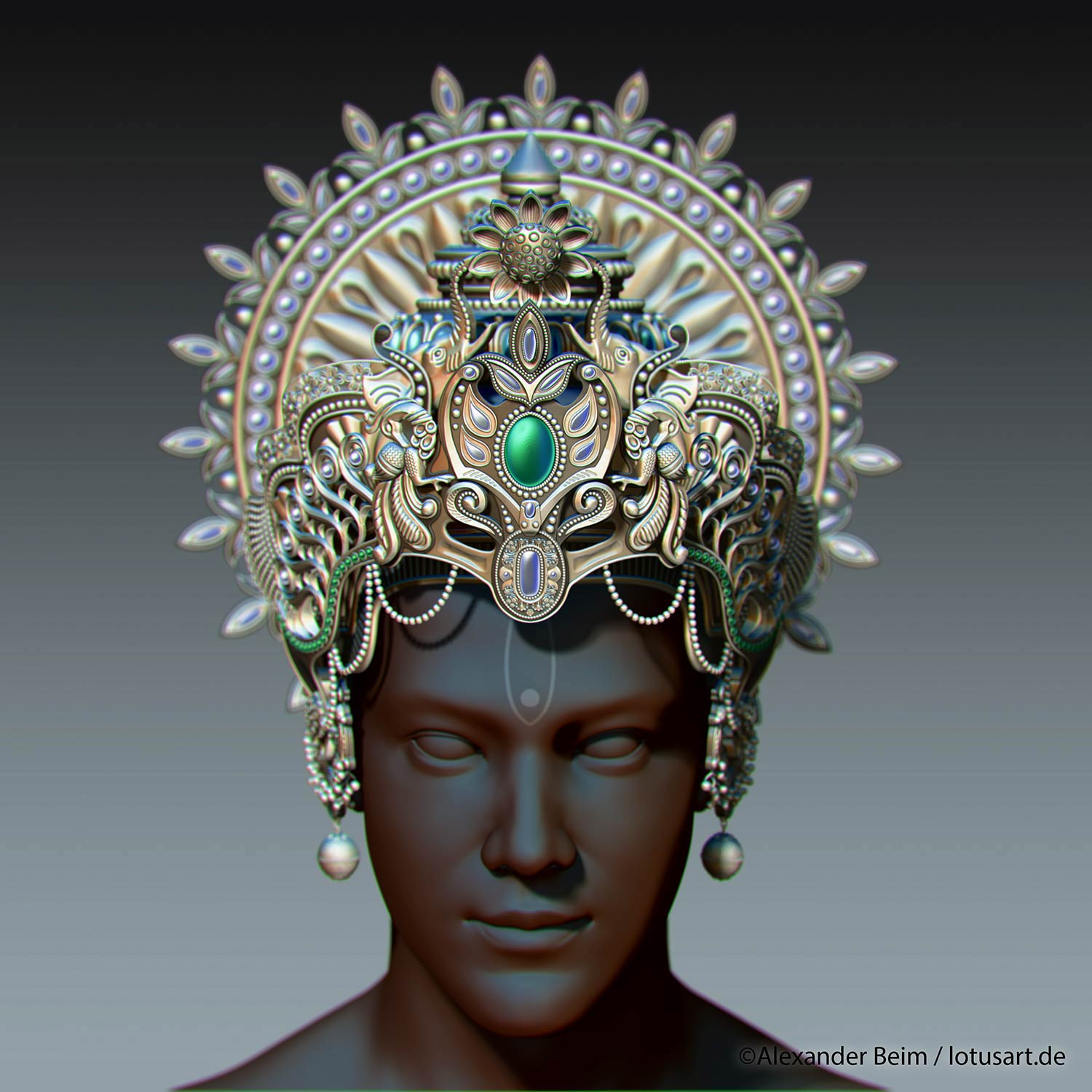 "zbrush_sculpt_Krishna_Crown Digital sculpting ""Krishna Crown """