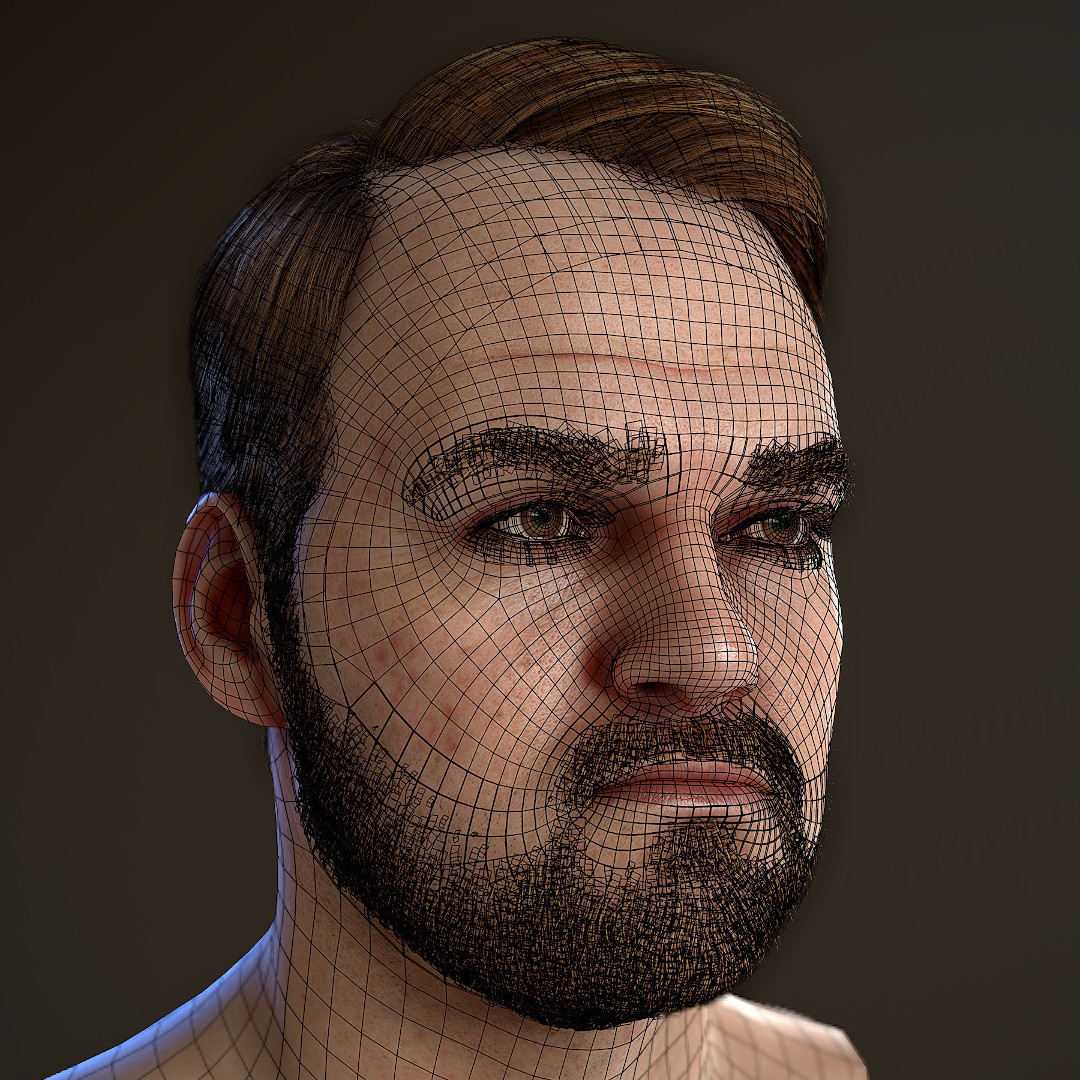 real_time_character_wireframe_low_poly Realistischer Real-Time 3D Character for game