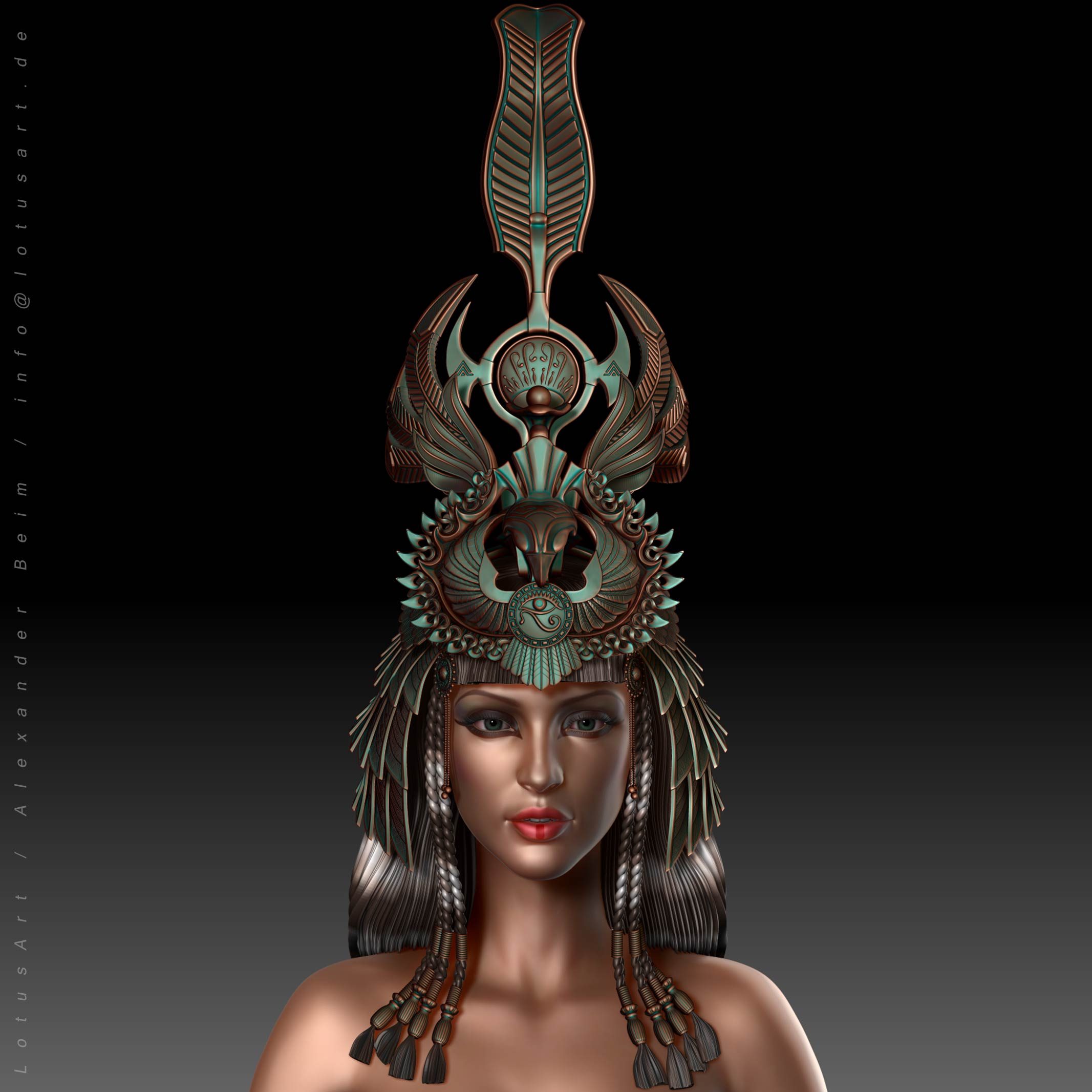 character_concept_game_realtime_female_woman 3D Cleopatra WIP