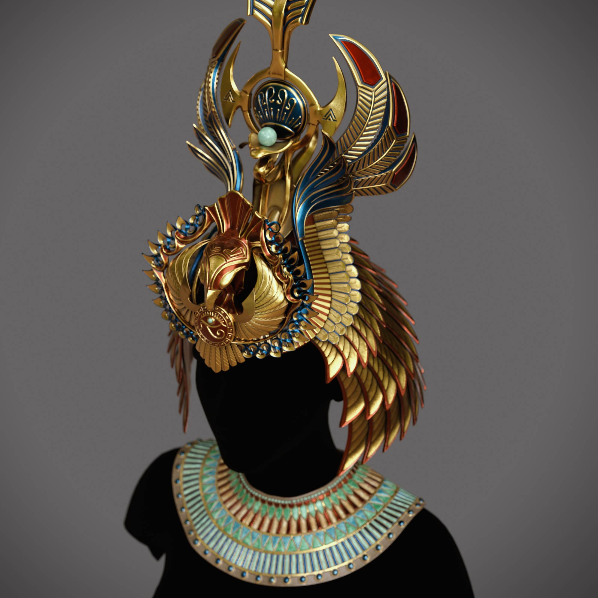 3d_design_concept_zbrush-modeling_sculpting_texturing_assets Egyptian queen crown