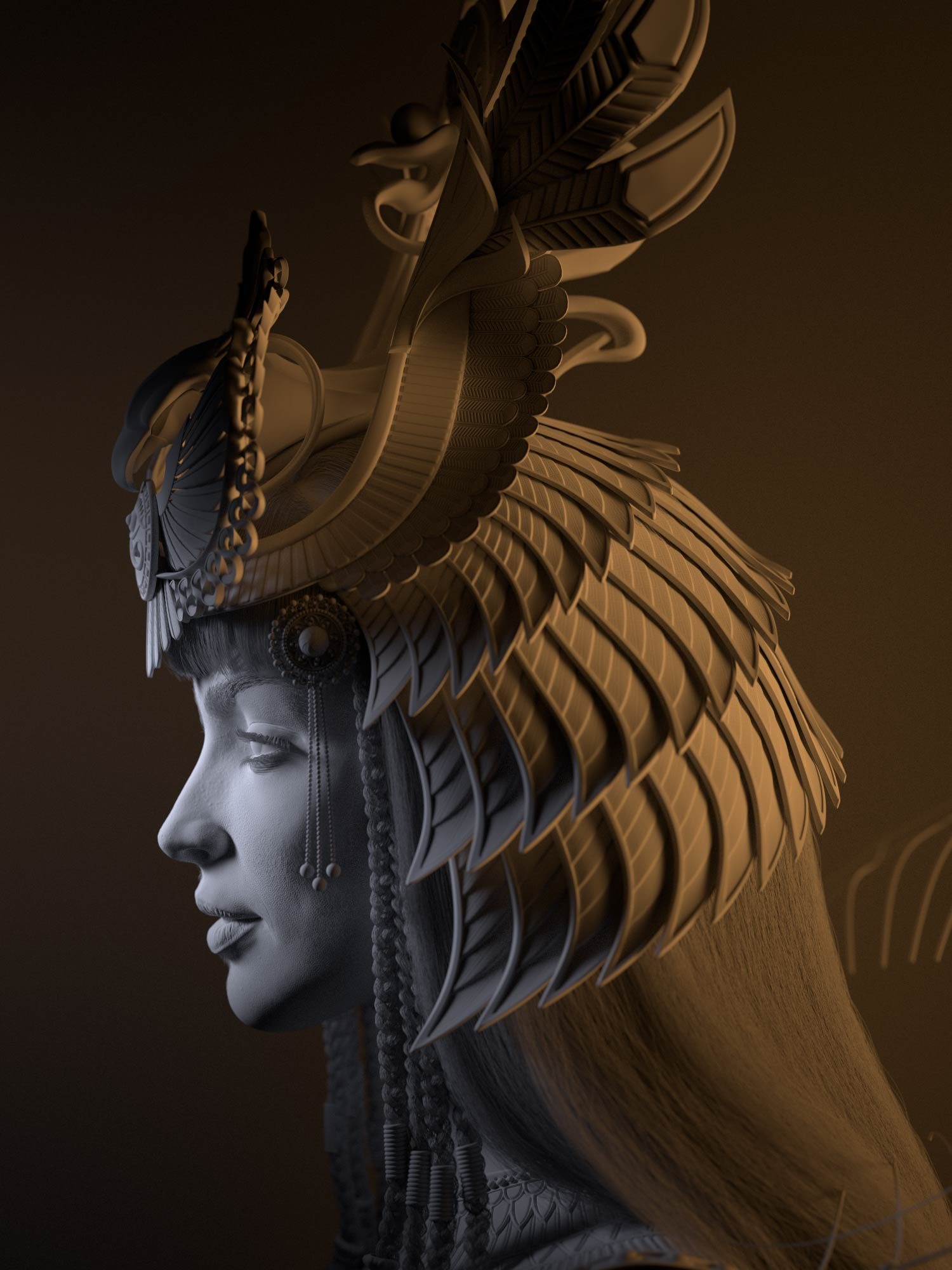 cleopatra_3d_lighting_side_view_digital_csulpting Cleopatra CG Character