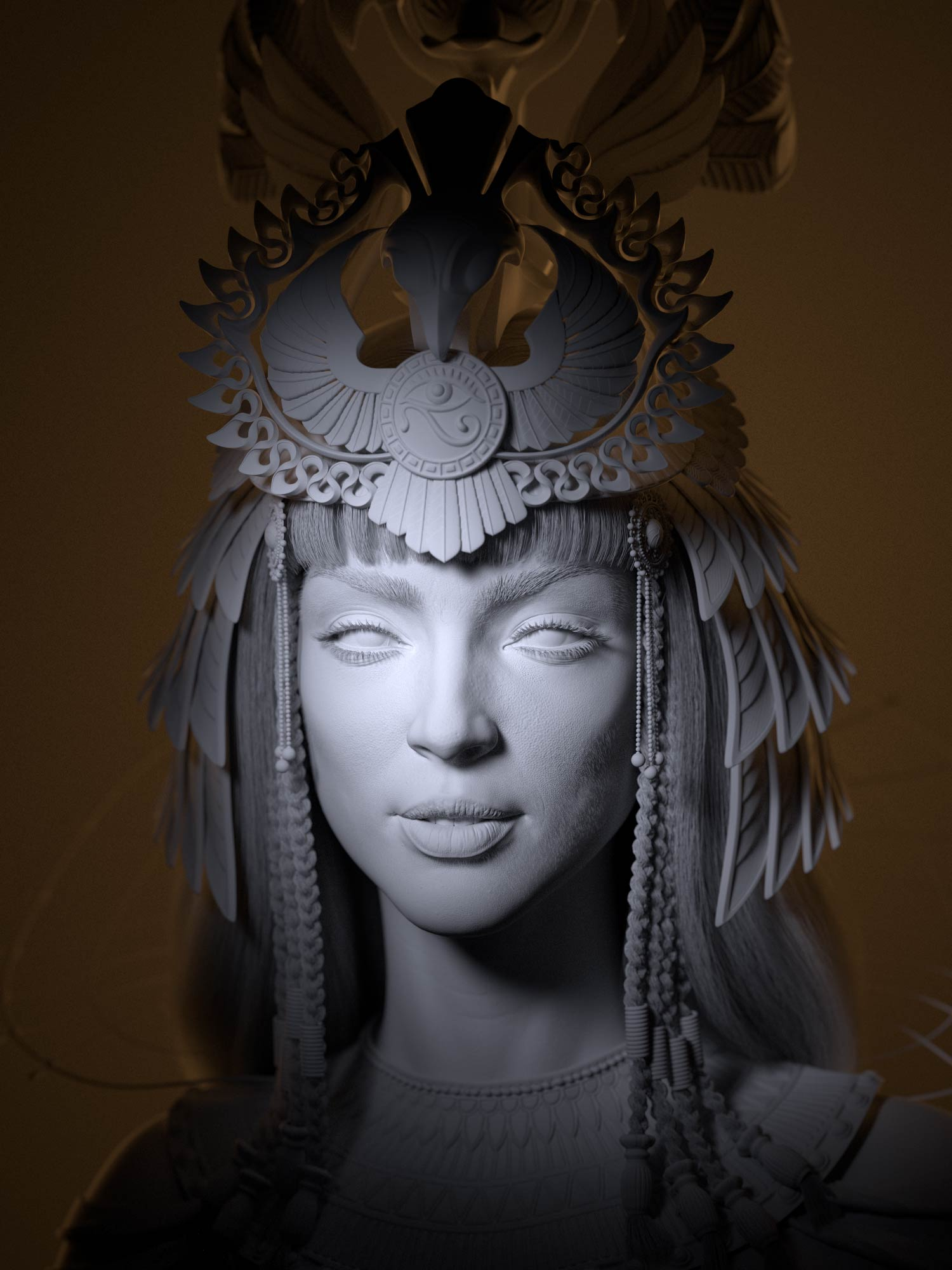 cleopatra_3d_lighting_wireframe_digital_csulpting Egyptian queen 3D model