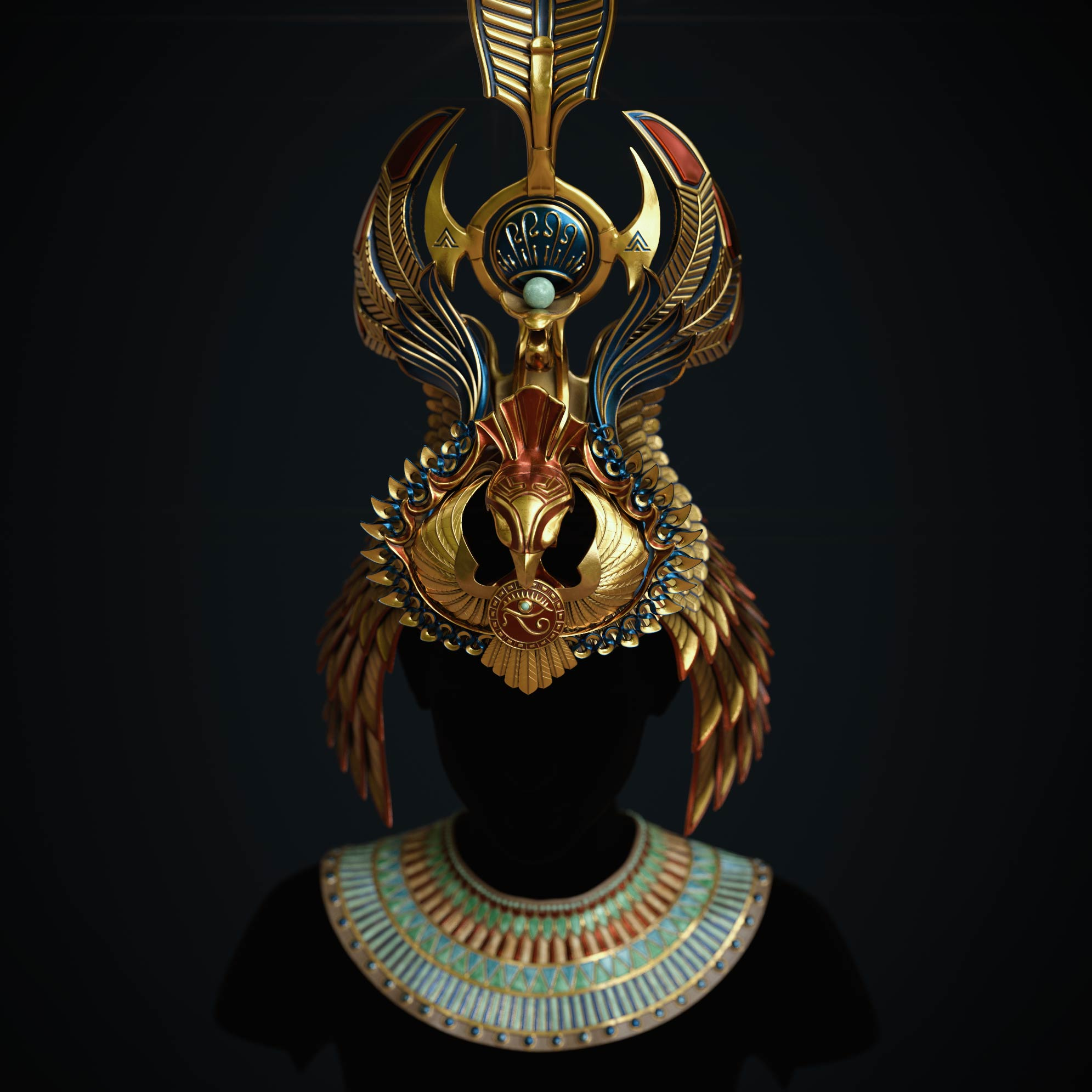 egyptian-queen-crown_substance_painter_texturing_3d_sculpting Egyptian queen crown