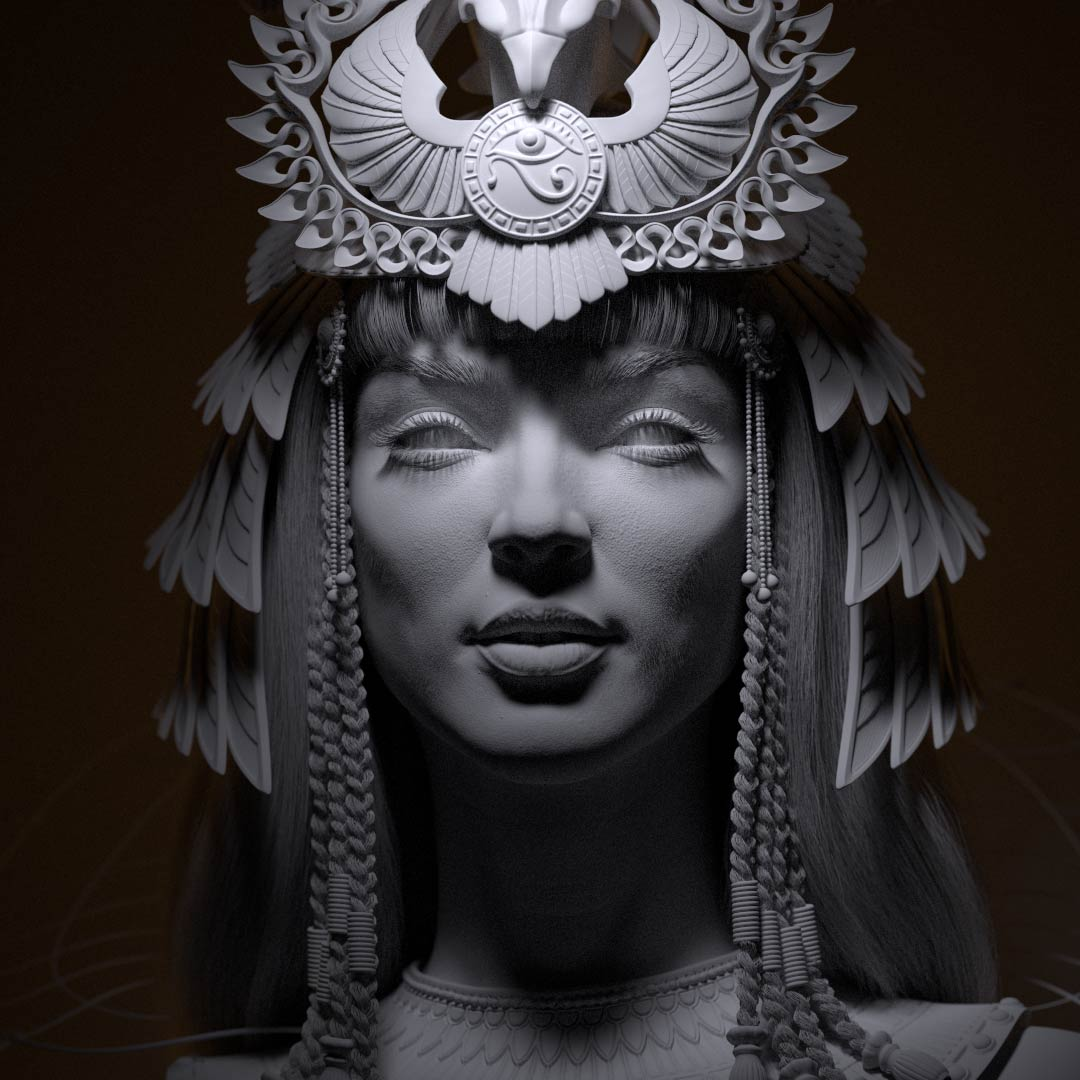 cleopatra_CG_character_crown_lighting_lotusart Egyptian queen 3D model