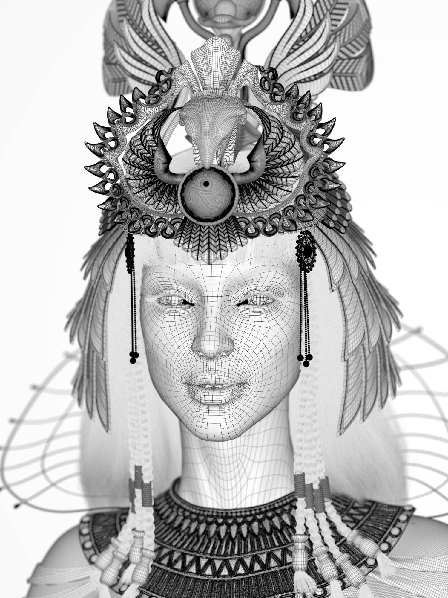 cleopatra_Nofretete_CG_character_wireframe_front Egyptian queen 3D model