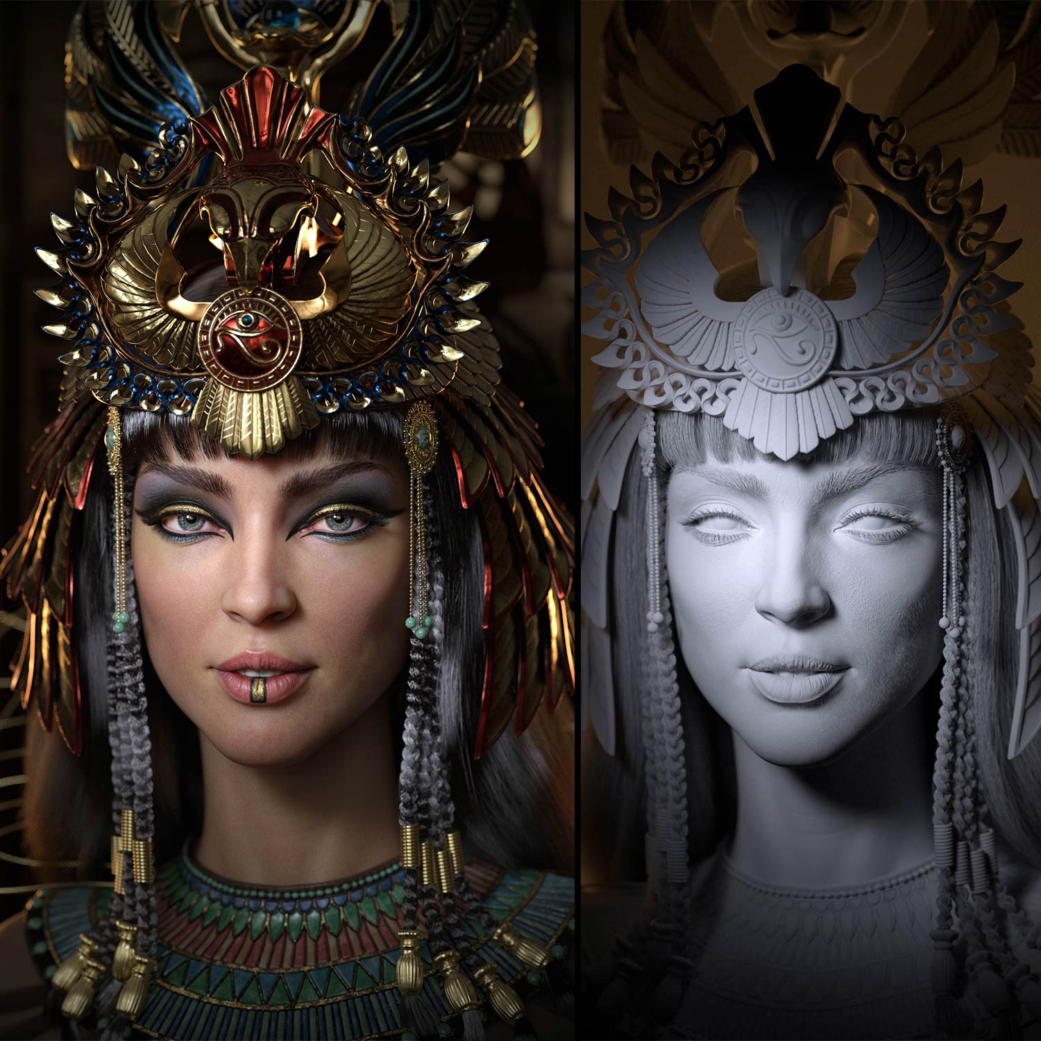 egyptian_queen_Cleopatra_3d_Nofretete_character_historical_figure_pharaoh_egypt_compare