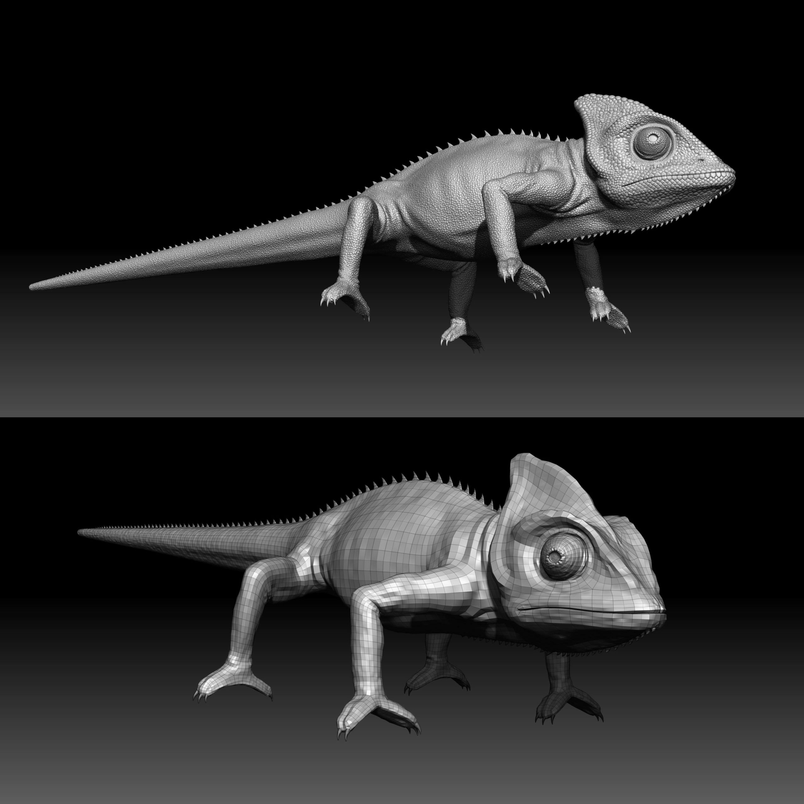 cg_chameleon_animals_zbrush-sculpting-scaled Chameleon - Animation / TRACKING and MATCHMOVING / VFX